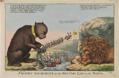 Foreign Amusements or the British Lion on the Watch (caricature) by S.W. Fores - print