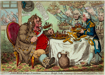 John Bull taking a Luncheon: - or - British Cooks, cramming Old Grumble-Gizzard, with Bonne-Chere by James Gillray - print