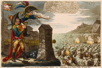 Destruction of the French Gun-Boats - or - Little Boney & his Friend Talley in high Glee by James Gillray - print