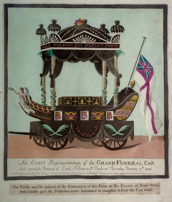 An Exact Representation of the Grand Funeral Car which carried the Remains of Lord Nelson to St Pauls on Thursday January 9th 1806 by S.W. Fores - print