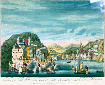 The taking of Porto Bello by Vice Admiral Vernon on the 22d of Nov. 1739 with Six Men of War only by Peter Monamy - print