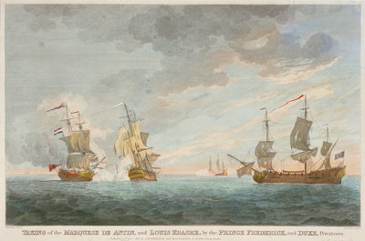 Taking of the 'Marquese de Antin' and 'Louis Erasme' by the Prince Frederick and Duke privateers by Charles Brooking - print
