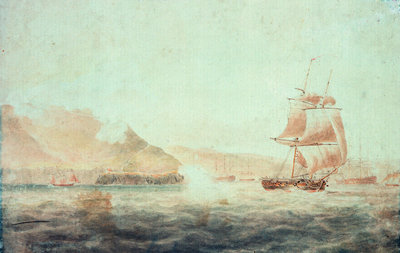 French batteries firing at the brig 'Childers' off Brest 1793 by unknown - print