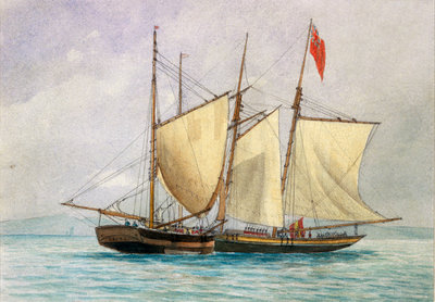 'Captain H Wolman with HM 80th Foot capturing the Notorious Pirate Schooner Hanna Mercury Isld Oct 26th 1843'. by unknown - print