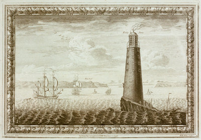 Eddystone Lighthouse with shipping beyond by C. Lempriere - print
