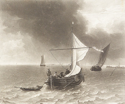 Sailing vessels at the mouth of the river Humber by Joseph Mallord William Turner - print