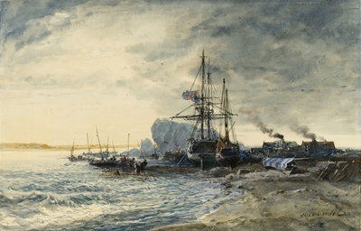 Fishing boats on the seashore by Jules Achille Noel - print