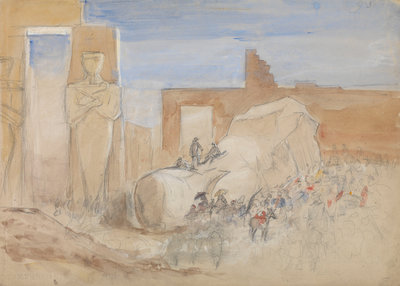 The Ramosseum, Thebes, Egypt by Oswald Walter Brierly - print