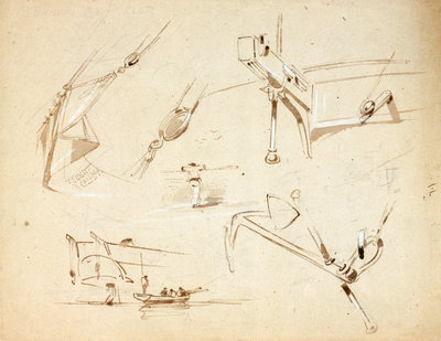 Sketches of two stern views of ships also of an anchor and rigging by Oswald Walter Brierly - print