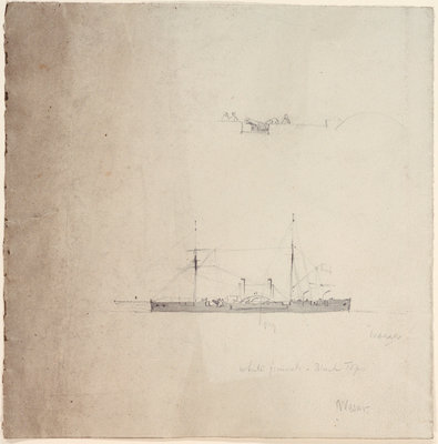 The gunboat 'Weser' by Oswald Walter Brierly - print