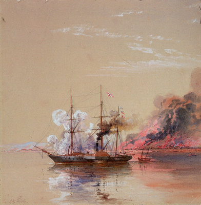 HMS 'Vesuvius' at the destroying of stores, sea of Azoff, 1 September 1855 by Oswald Walter Brierly - print