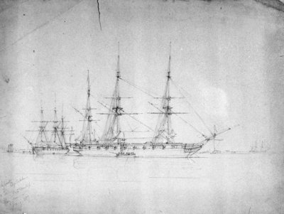 HMS 'Cossack' and 'Tartar', probably on the North American station, January 1857 by George Pechell Mends - print