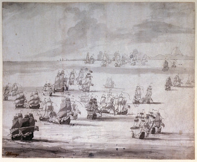 The Battle of Cape Passaro, 11 August 1718 by Peter Monamy - print