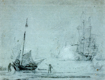 A fishing vessel ashore with fishermen casting a net by Samuel Scott - print