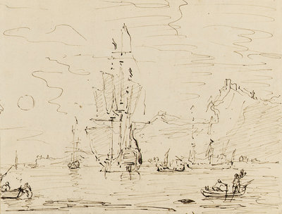 Sketch of shipping off a high coast by Samuel Scott - print