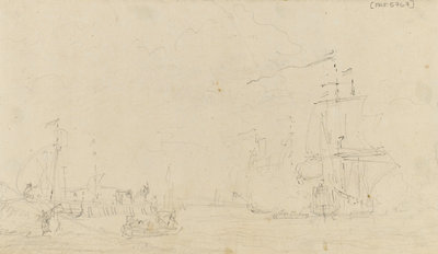 Sketch of a small sailing vessel saluting near the shore by Samuel Scott - print