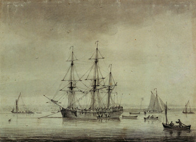 A merchant ship at anchor by unknown - print