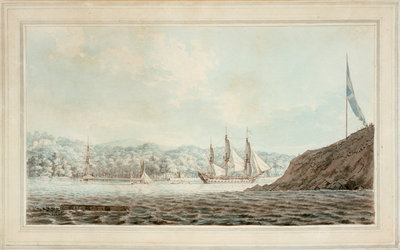 Two frigates in Plymouth harbour opposite Mount Edgcumbe by John Webber - print