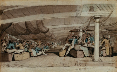Dinner on board a ship at Gravesend by Wright - print