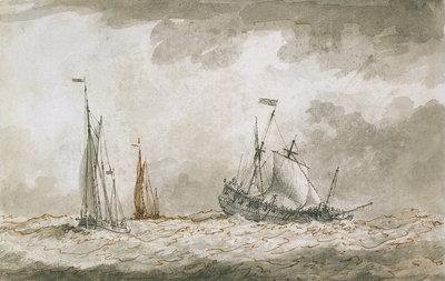 A dismasted Dutch man of war by Charles Gore - print