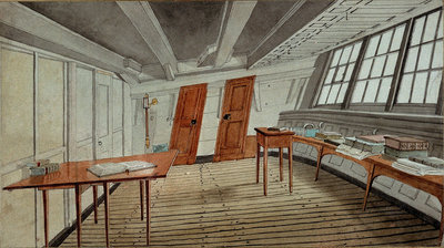 Interior of a ship's cabin, circa 1819 by English School - print
