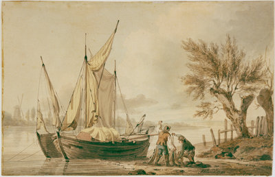 A river scene with fishing boats and fishermen sorting their nets on shore. by John Thomas Serres - print