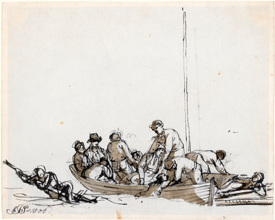 Sailors in a boat rescuing survivors by John Thomas Serres - print