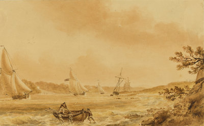 Cutters under sail in a river, probably the Bristol Avon by Nicholas Pocock - print