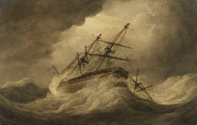 Attempt to Veer' in a stormy sea, illustration to Falconer's 'The Shipwreck by Nicholas Pocock - print