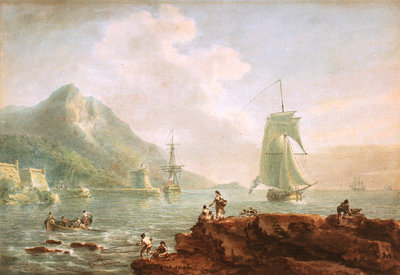 A cutter and a man-of-war off Corsica, 1788 by Nicholas Pocock - print