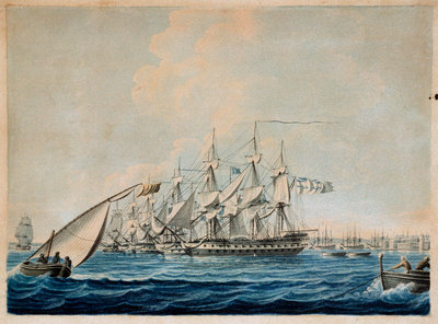 Nelson's inshore squadron blockading Cadiz, 1797 by Thomas Buttersworth - print