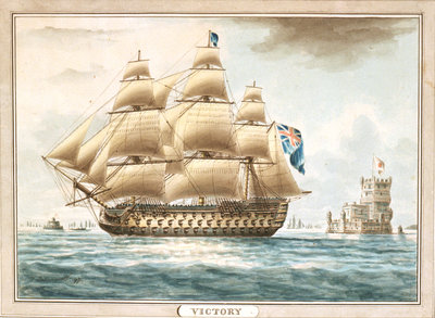HMS 'Victory' off Belem Castle by Thomas Buttersworth - print