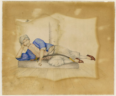 A Turkish prisoner on board ship by English School - print