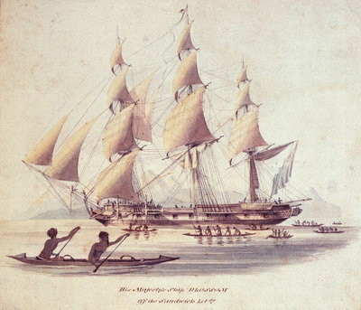 His Majesty's ship 'Blossom' off the Sandwich Islands by William Smyth - print