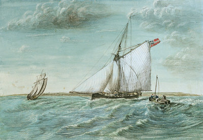 Revenue cutter chasing a lugger, circa 1830 showing 'revenue stripes' by unknown - print