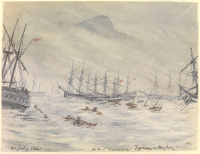 21 July 1841, HMS 'Rattlesnake', Typhoon in Hong Kong Harbour by Edward Hodges Cree - print