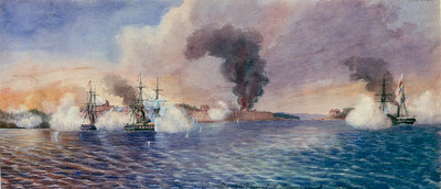Bombardment of Bomarsund, August 1854 by Edward Hodges Cree - print