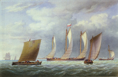 A lugger with other small craft in a fresh breeze by William Joy - print