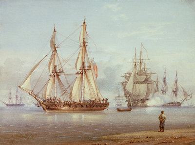 Action with English frigate in foreground. Clio - Light air by William Joy - print