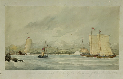 Attack on Chinese Pirates by the pinnace of HMS 'Druid', 1842 by Admiral M. O'Reilly - print
