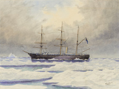 HMS 'Discovery' in the Arctic by William Cluett - print