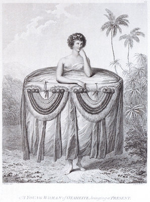 A young woman of Otaheite, bringing a present by John Webber - print