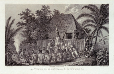 An offering before Capt Cook, in the Sandwich Islands Fine Art Print by John Webber