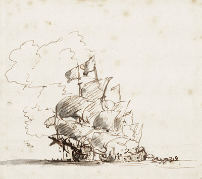 A fireship burning a flagship by Willem Van de Velde the Younger - print