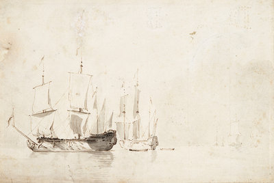 English ships becalmed by Willem Van de Velde the Younger - print