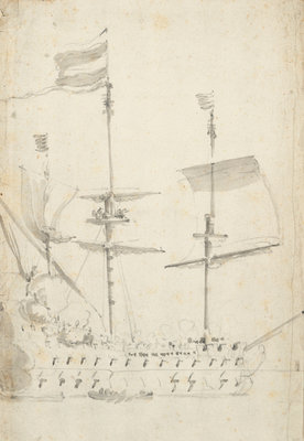 A Dutch flagship under easy sail by Willem van de Velde the Elder - print