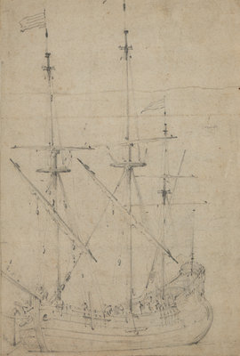 A small flute at anchor by Willem Van de Velde the Younger - print