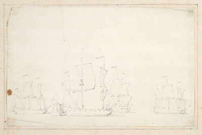 English ships in stays by Willem Van de Velde the Younger - print