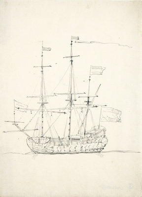 A Dutch flagship at anchor by Willem Van de Velde the Younger - print
