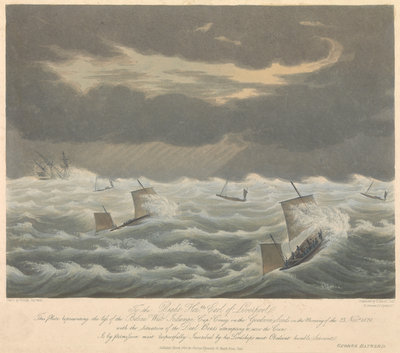 Aquatint of the loss of the West Indiaman 'Belina' on the 23rd of November1824 by George Haywood - print